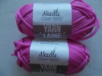 Needle Crafters  braided tube yarn, Hot Pink, lot of 2 (48 yds ea)