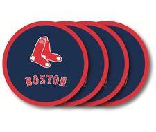 Boston Red Sox Coaster Set - 4 Pack [NEW] MLB Drink Bar Man Cave Shot Vinyl