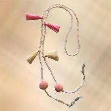 NEW Pink  & Cream Tassel, Peach Pom Pom & White Miyuki Seed Bead Glasses Strap