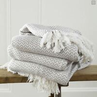 100% Cotton CREAM Woven Herringbone Sofa Chair Bed Throw Fringed Blanket Woven