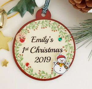 Personalised 1st Christmas Name Bauble Tree Decoration  12cm x 10cm