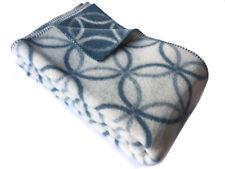 "Doubleface Wende-Wolldecke Plaid ""Blaue Kreise"" 100%Wolle 130x200cm, weiß/blau"
