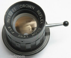 Crown Reflex Zoom Lens 1:1.8 - From Model 503 Video Camera w/Retainer - USED D35