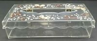 Vintage Wolff  Facial Tissue Box Holder Lucite Acrylic Clear Brown Butterflies