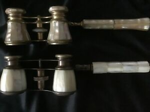 2 Vintage Opera glasses/Binoculars in mother of pearl with folding handle