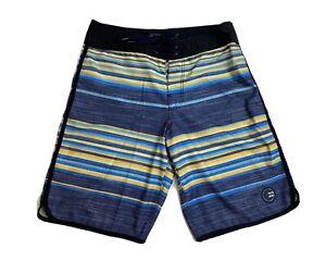 Billabong Platinum X zero gravity stretch blue & yellow board shorts men's sz 31
