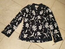 TALBOTS Black White floral V neck Shirt Top Tunic Embroidered 16 NWT Retail $88