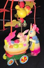 Vintage Tin Wind-Up Easter Toy - Celluloid Mother Bunny Pushing Baby