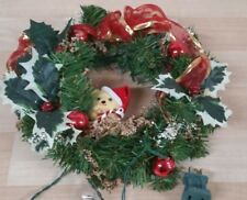 Christmas vintage lighted wreath Teddy bear 10 inch door or wall