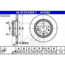 ATE 2x Bremsscheiben Voll beschichtet 24.0110-0302.1