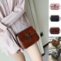 Vintage Women PU Leather Small Handbag Satchel Messenger Cross Body Shoulder Bag