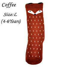2016 Baby Children Girls Fox Pattern Socks Soft Cotton Knee High Hosiery Fashion Coffee 4-6 Years