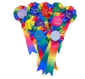 PERSONALISED Rainbow  Rosettes - Pack of 10