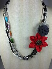"Multi-strand Red Grey Necklace Dahlia Rose Flower Colored Stone 23"" Handmade"