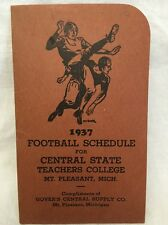 1937 Football Schedule SOUVENIR Central State Teachers College Mt. Pleasant, MI