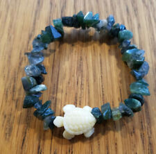 Natural Moss Agate Chip Stretch Bracelet with Faux Ivory Sea Turtle, Magical!
