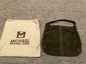 MICHAEL KORS LG. Olive Green SUEDE STUDDED Hobo bag with dust bag