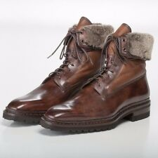 SANTONI *STUNNING* Fatte a Mano Brushed Brown Boots with Shearling Lining 10.5US