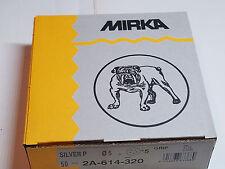 Mirka 320 Grit Sandpaper Discs Hook & Loop Back 50 Sanding Discs 5 Hole Silver P