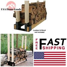 Steel Firewood Log Rack Bracket Kit Fireplaces Stoves Adjustable Outdoor Cooking