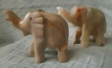 2 Vintage Alabaster Marble Elephant Statues Trunk Up 2in Carved Stone