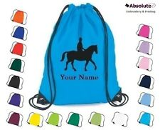 Personalised Horse, Pony Drawstring Bag Grooming Kit Equestrian Equine Rucksack