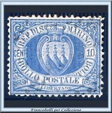 1877 San Marino Stemma cent. 10 oltremare Centrato Catalogo n. 3  Usato