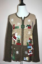 Christmas Sweater Top L 12 14 Santa Claus Beaded Sequin Ugly 3D Holiday Party