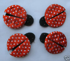 40 Padded Satin Polka Dots Ladybug Appliques Cute-RED AD005