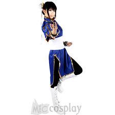Street Fighter Chun Li Classic Blue Dress Anime Cheongsam Women Cosplay Costume