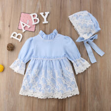 Princess Kids Baby Girls Lace Dress Long Sleeve Party Pageant Dress+Hat Clothes