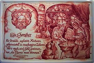 Beruf Chemiker Blechschild Metallschild Schild gewölbt Metal Tin Sign 20 x 30 cm