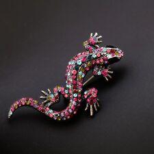 Shape Fashion Jewelry Brooch Pin Gift Rhinestone Women Lizard Animal