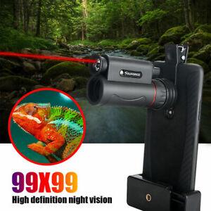 99X99 BAK7 Prism Travel Camping HD Zoom Monoculars Night vision+LED Light+Laser