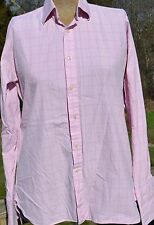 "Mens Charles Tyrwhitt 15"" / 35"" Long Sleeve Button Down Light Pink Blue Squares"