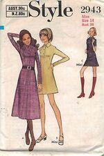 UNCUT vintage pattern Style 2943 Dress multi length long short sleeve size 14
