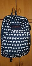 JanSport Superbreak Backpack Authentic School Casual Student Bag Hearts Navy NWT