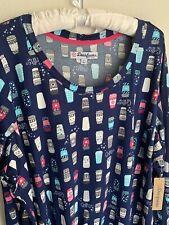 NWT 2X Coffee Dearfoams To Go Cups Nightgown Plus Size Lounge Dress Pajamas Blue