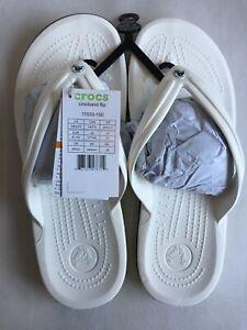 Crocs Crocband Flip Flop Comfort White Unisex Thong Sandal Size Men-8 Women-10