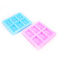 6-Cavity Silicone Rectangle Soap Cake ice Mold Mould Tray For Homemade Craft  Hw