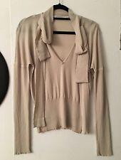 Auth Lanvin Wool & Silk Beige Top Sweater Sz L Fits Sz M