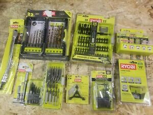 Lot of Ryobi Straight Router Bit, drill bit, nut driver sets & more