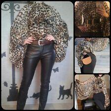 Leopard Chiffon Bow Tie Neck Front Lantern Sleeve Blouse M
