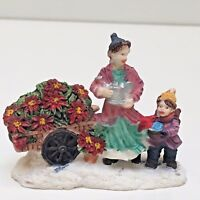 """MOTHER & SON WATERING FLOWERS Holiday Village Figures 2.25"""" Tall"""