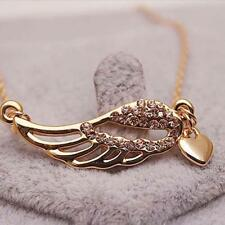 Women Jewelry Charm Angel Wings Pendant Chain Rhinestone Love Heart Necklace