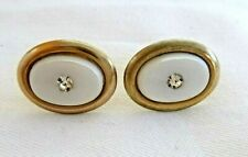 Vintage Cuff Links Faux Mother of Pearl Cufflinks Crystals