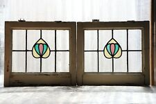 Pair of Antique Stained Glass Windows Three Color Art Nouveau Tulips (3108)