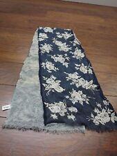 Ann Taylor floral blue white 100% silk scarf made in Korea
