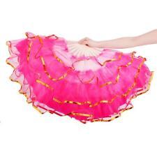 Large Bamboo Cloth Folding Hand Fan Belly Dance Dancing Fancy Costume Dress