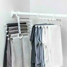 Pants rack shelves 5 in 1 Steel Multi-functional Wardrobe Hanger Y9B4